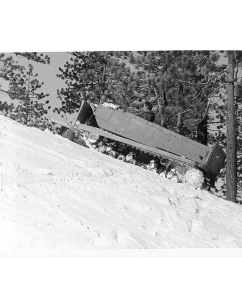 Kratka Ridge Ski Area, Ed Hensley in Army Wiesel Tracked Vehicle with Blade  installed be Howard Worthing and Joe Diener