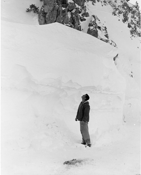 Kratka Ridge Ski Area. Ed Hensley 6 foot 3 inches looking up from Angeles  Crest Hwy