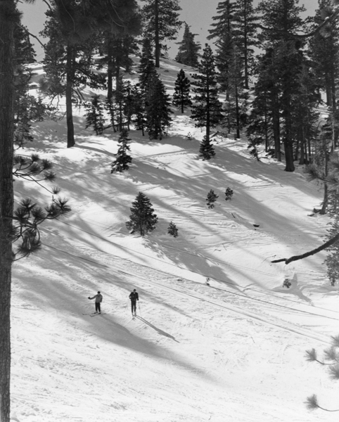 Kratka Ridge Ski Area, Twin Rope Tow 500 feet long, two tow ropes, photo from  upper lodge