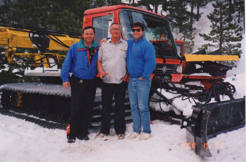 Ray, Ed, and Tom Hensley, March 15, 1992 at Kratka Ridge Ski Area in front  of Piston Bully Grooming Machine